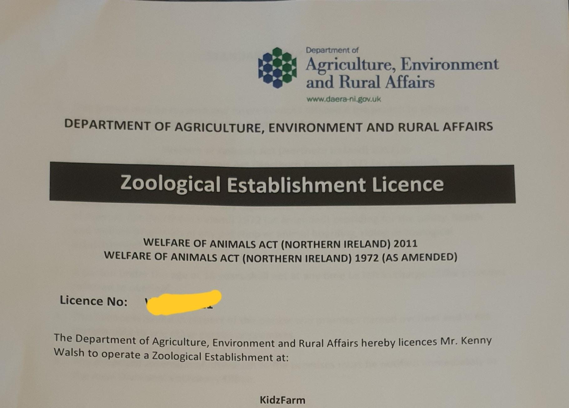 Kidz Farm – Zoo Licence